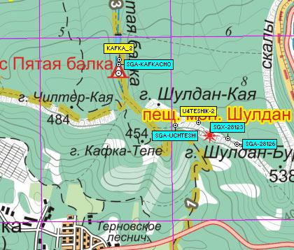 Фрагмент карты района пещерного монастыря Шулдан